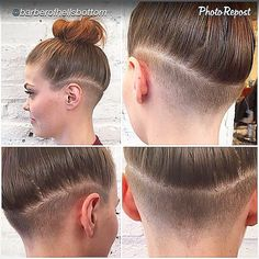 "#updo #undercut #undershave #hairup #hairart #hairdesign #topknot #shornnape #undershave #loveit #napeshave #napeundercut #regram #repost by @barberofhellsbottom ""Who says girls can't have fades..."""