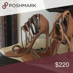 ISABEL MARANT STRAPPY NUDE REA SANDAL CHAIN DETAIL Strappy sexy sandal detailed w mix of chain detail around ankles!  Wore these like twice. I knew they were too small when purchased but SOO HOPED THEY WOULD FIT,, 🤗 MY BAD! Isabel Marant Shoes Sandals