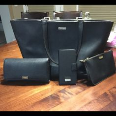 Kate Spade - Bundle Purse, wallet, wristlet and phone case. All black  in good condition. kate spade Bags Totes