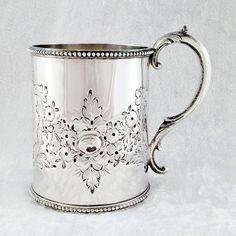 Fine Heavy Antique Solid Sterling Silver Christening Cup Mug Tankard Birm 1874 #ThomasTongue