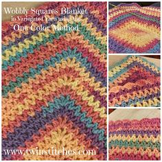 Wobbly Squares Blanket {without changing colors} | Free Pattern by Tw-In Stitches