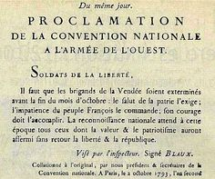 Proclamation de la Convention Nationale à l'armée de l'Ouest (Octobre 1793)