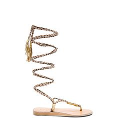 L*SPACE Gili Long Wrap Sandal Shoes ($149) ❤ liked on Polyvore featuring shoes, sandals, woven leather sandals, wrap sandals, rubber sole shoes, braided leather sandals y long shoes