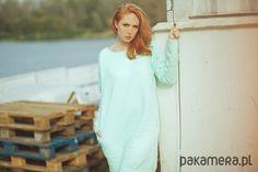 sukienki-Miętowa Bez Zbierana