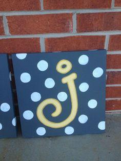 initial canvas art polka dots