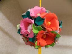 折り紙 花 椿 のくす玉 組み立て方 - YouTube