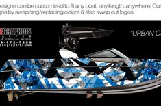 Boat Wraps | Marine Vinyl Graphics | Wake Graphics Make A Boat, Build Your Own Boat, Sanger Boats, Red Crafts, Boat Wraps, How To Wrap Flowers, Blue Boat, Boat Art, Rough Riders