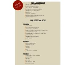 hospital pack list