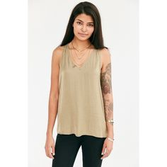 Silence + Noise Jordan Satin V-Neck Tank Top ($49) ❤ liked on Polyvore featuring tops, green, green tank top, brown tank top, metallic tank, v-neck tank top and long tops