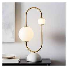 West Elm Framed Sphere Table Lamp, Brass (11.705 RUB) ❤ liked on Polyvore featuring home, lighting, table lamps, sphere lights, brass light, spherical light, orb light and west elm lighting