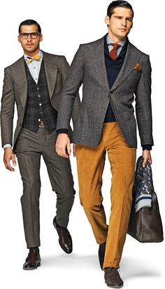 Shop this look for $255:  http://lookastic.com/men/looks/dress-pants-and-cowl-neck-sweater-and-tie-and-dress-shirt-and-pocket-square-and-blazer-and-briefcase-and-boots-and-scarf/759  — Tobacco Dress Pants  — Navy Cowl-neck Sweater  — Burgundy Tie  — Grey Polka Dot Dress Shirt  — Tobacco Paisley Pocket Square  — Grey Blazer  — Dark Brown Leather Briefcase  — Brown Suede Boots  — Navy Paisley Scarf