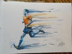 Runner watercolor art print 5X7 card of man by Shicksart on Etsy