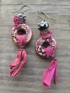 Mixed Media Polymer Clay Rustic Bohemian Gypsy Wire Wrapped Purple Earrings with Large Tribal Beads and Sari Silk Ribbon by SpontaneousSoul on Etsy https://www.etsy.com/listing/216670005/mixed-media-polymer-clay-rustic-bohemian