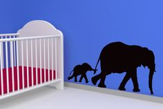 Elephant Mom or Dad and Baby, Family - Decal, Sticker, Vinyl, Wall, Home, Nursery, Kid's Bedroom Decor