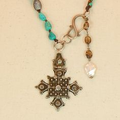 Beautiful Coptic Cross on Turquoise and leather