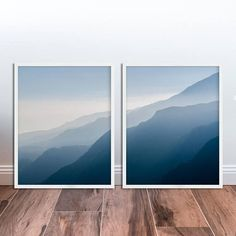 Set of 2 Prints Navy Blue Mountain Wall Art Mountain Pictures Landscape Diptych Wall Art Diptych Photography DOWNLOAD Nature Print Set of 2
