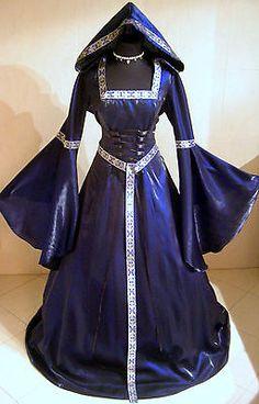 Medieval Wedding Dress Gothic 10 12 14 s M Blue Witch Renaissance Robe 38 40 42 | eBay