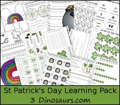Free St. Patrick's Day Learning Pack - Over 50 pages of math and language for kids ages 5 to 10 - 3Dinosaurs.com