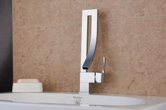 contemporáneo cromo acabado de latón un agujero sola manija grifo de lavabo del…