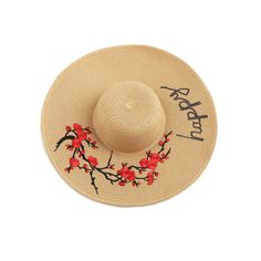 Flower Embroidery Wide Brim Straw Hat ❤ liked on Polyvore featuring accessories, hats, wide brim straw hat, wide brim hat and straw hats