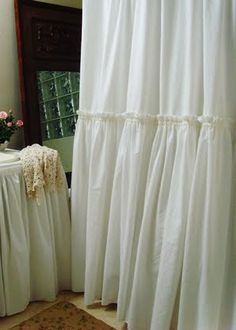 Shower Curtain Ruffle Shower Curtain White Cotton Ruffles Shower Curtain Shabby Chic