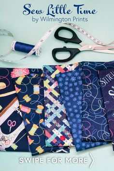 Sew Little Time is an adorable sewing-themed fabric collection by Danielle Leone for Wilmington Prints featuring fabrics with fun sewing motifs such as buttons, sewing machines, colorful thread, and more! Shop the available yardage and precuts at www.shabbyfabrics.com!