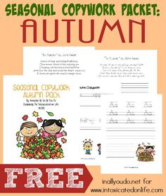 Autumn is just around the corner, but that doesn't mean learning has to slow down. Grab this FREE Autumn Copywork Printable Pack (PreK-5th) perfect for the Fall season! :: www.intoxicatedonlife.com