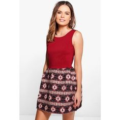 Boohoo Beitris Aztec Print Contrast Skater Dress (£7.85) ❤ liked on Polyvore featuring dresses, bodycon mini dress, maxi dress, red dress, red maxi dress and red bodycon dress