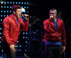 Actors/singers Cory Monteith (L) and Mark Salling of Fox TV's 'Glee' perform at The Gibson Amphitheater on May 20, 2010 in Universal City, California. (Photo by Kevin Winter/Getty Images)