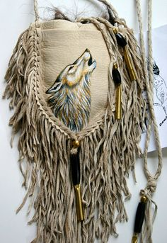 Native Wolf Painting Deerskin Leather Medicine by JillClaireArt Native American Medicine Bag, Native American Crafts, Native American Fashion, American Indians, Wolf Painting, Nativity Crafts, Deer Skin, Beaded Bags, Leather Projects