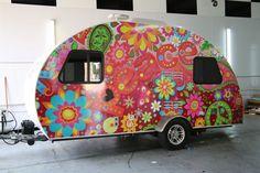 Floral camper hippie boho flowers canned ham travel trailer Retro Caravan, Retro Campers, Happy Campers, Vintage Campers, Vintage Airstream, Rv Campers, Vintage Caravans, Vintage Travel Trailers, Tiny Trailers