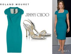 Jodie Foster's Roland Mouret 'Breccia' Dress And Jimmy Choo 'India' Sandals