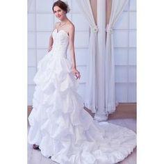 Robe Bustier De Mariée En Taffetas Blanc, Couleur: Blanc...Plus sur www.shopwiki.fr ! #robes_mariee #mariage #mariee