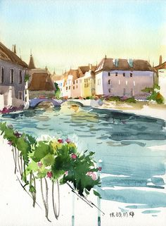 Watercolor by Veronika Kalacheva Watercolor Sketch, Watercolour Painting, Painting & Drawing, Watercolors, Watercolor Architecture, Watercolor Landscape, Guache, Poster S, Urban Sketching