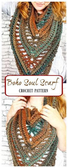 Crochet Shawl Crochet Pattern for the Boho Soul Triangle Scarf - Poncho Au Crochet, Bonnet Crochet, Crochet Shawls And Wraps, Crochet Beanie, Crochet Scarves, Crochet Clothes, Crochet Stitches, Crochet Cowls, Crochet Vests