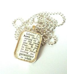 Great Teacher Gift! - Ordered... AWESOME!  Vintage Dictionary Pendant by Little Bird Creations $18