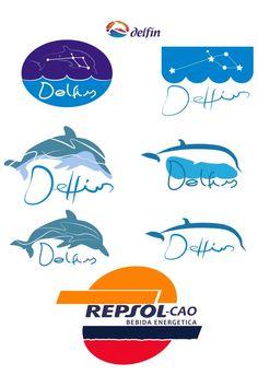 """evolución de logos y variaciones. En delfín se prueba a un cambio del pictograma radical: del animal se pasa a la constelación """"delfín"""""""