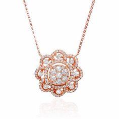 Diamond 18k Rose Gold Pendant Necklace