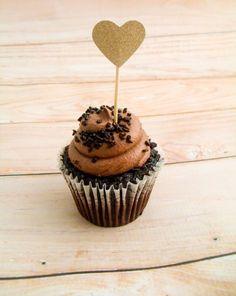 100ks Custom Colour Glitter Gold Heart Cupcake Topper.  svatební Party Cake Topper.Simple Sladký párátko Toppers Potravinářské trsátka