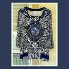 I just discovered this while shopping on Poshmark: NEVER WORN Beaded Top. Check it out! Price: $38 Size: M, listed by totsie28