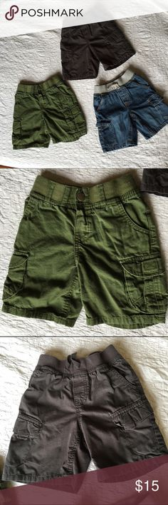 Bundle..3 Cherokee Cargo Shorts Great Condition! Great condition no stains no tears!  Bundle of 3 pairs of Cherokee cargo shorts all size 3T. Colors: Army Green, Charcoal Grey & Blue Jean. Cherokee Bottoms Shorts
