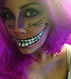 3 super cute and easy makeup looks you need to try this Halloween. halloween makeup looks Cheshire Cat Makeup, Chesire Cat, Diy Cheshire Cat Costume, Halloween Costumes 2014, Halloween Make Up, Costumes 2015, Purple Halloween, Woman Costumes, Halloween Dress