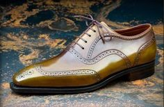 "Pierre Corthay ""Vendome"". Brogued wingtip oxford in olive calf. Nice."