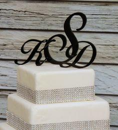 Custom - 3 Initial Monogram Cake Topper in Any Letters A B C D E F G H I J K L M N O P Q R S T U V W X Y Z. $25.00, via Etsy.