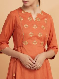 Rust Embroidered Cambric Cotton Kurta with Printed Pants and Beige Crinkled Dupatta - Set of 3 Embroidery On Kurtis, Beaded Embroidery, Embroidery Designs, Ethnic Outfits, Indian Outfits, Casual College Outfits, A Line Kurti, Punjabi Dress, 3 Online