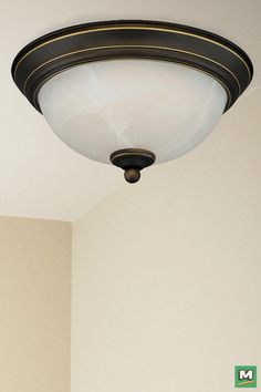 Patriot Lighting® Payton LED Flush-Mount Light with Oil-Rubbed Bronze Finish and Alabaster Glass.