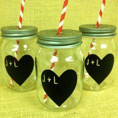 Personalized Heart Chalkboard Labels for Mason Jars-  150 Chalk Labels- Wedding Favors, Heart Stickers, DIY Chalkboard Mason Jar