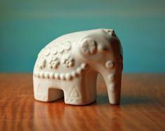 Rosa Ljung Elephant  Vintage White Swedish Ceramic by domestikate/etsy