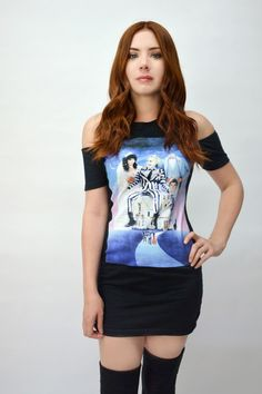 Beetlejuice Shoulder-Cut Dress