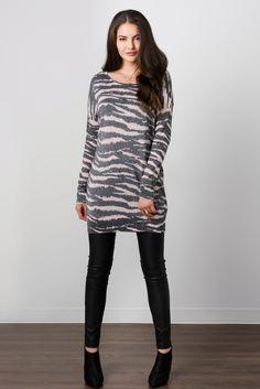 Suzy Shier Zebra Print Sweater
